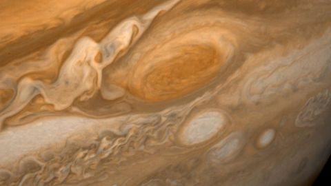 A dramatic view of Jupiter's Great Red Spot and its surroundings was obtained by Voyager 1 on February 25, 1979.