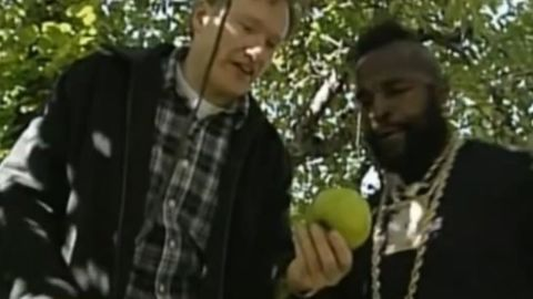 """In October 2000, Conan took Mr. T apple-picking, and the resulting segment was an instant classic. It was only nearly bested by the time Mr. T showed up during the """"Late Night"""" 10th anniversary show and handed Conan a golden """"7"""" for being funny 7 out of 10 years."""