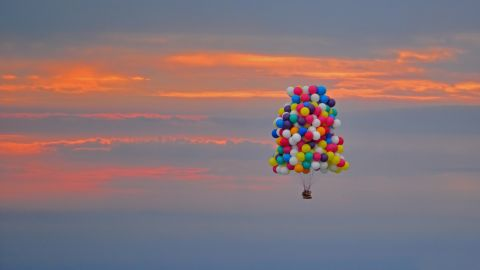 """<a href=""""http://edition.cnn.com/2013/09/13/world/americas/atlantic-balloon-crossing-aborted/"""">Jonathan Trappe</a>, a fearless adventurer, has taken to the skies in a bid to become the first man to successfully cross the Atlantic Ocean in a balloon cluster. Trappe took off from Caribou, Maine, on Thursday morning, September 12, to begin a 2,500 mile journey across the Atlantic Ocean."""