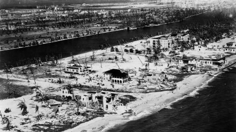"""""""The Great Miami Hurricane"""" of 1926 was a Category 4 when it raced across Miami Beach and downtown Miami during the morning hours of September 18. Although its death toll is uncertain, more than 800 people were reported missing, and a Red Cross report lists 373 deaths. If the disaster had occurred in modern times, its estimated cost would be $90 billion."""
