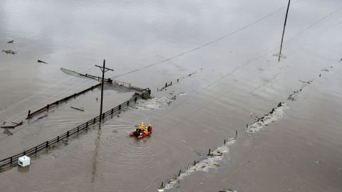 Rescue personnel search for flood victims near Fort Collins, Colorado, on September 13.