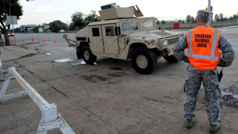 A National Guardsman stands at South Main and Missouri streets in Longmont, Colorado, on September 14.