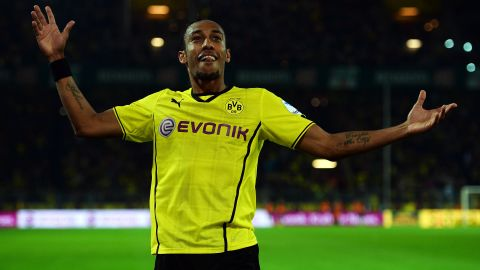 Borussia Dortmund's Pierre Aubameyang celebrates after scoring the third goal against Hamburg at the Signal Iduna Park.