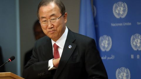 NEW YORK, NY - SEPTEMBER 03: Secretary-General of the United Nations Ban Ki-moon arrives for a news conference about the situation in Syria at the United Nations on September 3, 2013 in New York City. U.N. officials said on Tuesday that the civil war in Syria has forced over 2 million people out of the country and over 4 million others have now been displaced within its borders. (Photo by Spencer Platt/Getty Images)