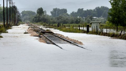 Railroad tracks are washed out in Longmont, Colorado, on September 15.