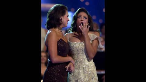 """Miss America 2003, Erika Harold, right, is congratulated by Miss Alabama, Scarlotte Deupree, in Atlantic City. Erika's platform for her reign was Empowering Youth Against Violence: """"Respect Yourself: Protect Yourself."""""""