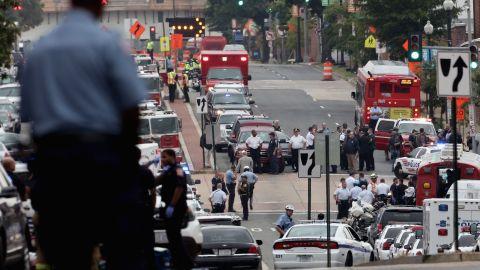 Emergency vehicles fill the streets around the Washington Navy Yard.