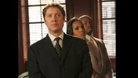"""The actress guest-stars as Chelina Hall in a handful of episodes of """"Boston Legal."""" Here she appears in the series with James Spader, foreground, and Page Kennedy."""
