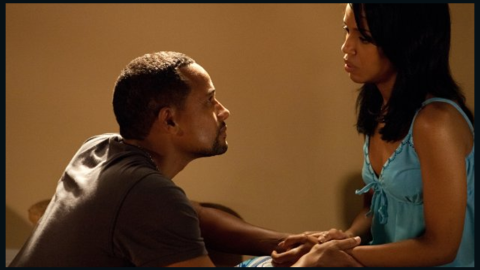 """Washington stars as Kelly/Blue opposite Hill Harper in """"For Colored Girls,"""" Tyler Perry's 2010 film of Ntozake Shange's play."""