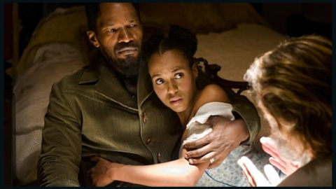 """Washington reunites with Jamie Foxx as married slaves in 2012's """"Django Unchained."""""""