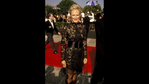 """Glenn Close went for a classic little black dress with a twist for the 1991 Emmy Awards. She was nominated for the TV special """"Sarah, Plain and Tall."""""""