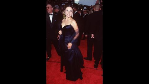 """""""Seinfeld"""" actress Julia Louis-Dreyfus wore an elegant gown to the 1997 Emmy Awards, a year following her win for outstanding supporting actress in a comedy."""
