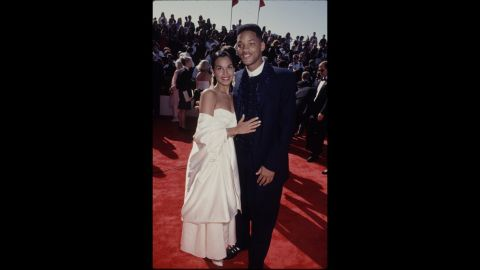"""""""Fresh Prince"""" Will Smith looked regal at the 1993 Emmys alongside his wife at the time, Sheree."""