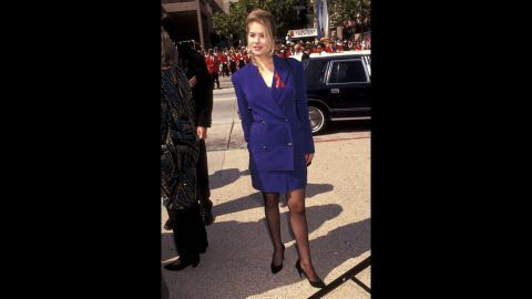 """""""Married, With Children"""" actress Christina Applegate wore a mature (but stylish for the time) skirt suit to the 1991 Emmys."""