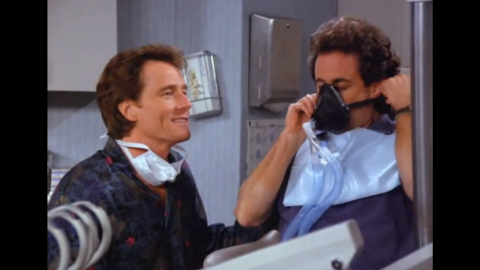 """Bryan Cranston has a memorable reoccurring role in """"Seinfeld"""" as Jerry's dentist, Dr. Tim Whatley. Among his storylines: He is caught """"regifting"""" a label maker, stocking his dentist's office with pornographic magazines, throwing a party Jerry may or may not have been invited to and accusing Jerry of being an anti-dentite (biased against dentists). Cranston later won three Emmys for best actor as Walter White in """"Breaking Bad."""""""