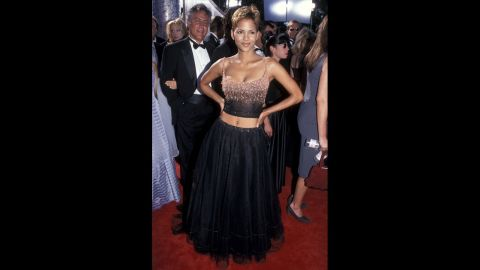 Halle Berry showed off her curves in a belly-baring dress at the 1999 Emmy Awards.