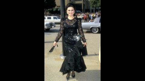 """In 1987, """"Designing Women"""" actress Delta Burke chose a black dress for the Emmys, but it was anything but basic."""