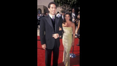 """""""Seinfeld"""" star Jerry Seinfeld (seen here with then-girlfriend Shoshanna Lonstein) broke out the velvet for his appearance at the 1996 Emmys. He was nominated for outstanding lead actor in a comedy series that year."""