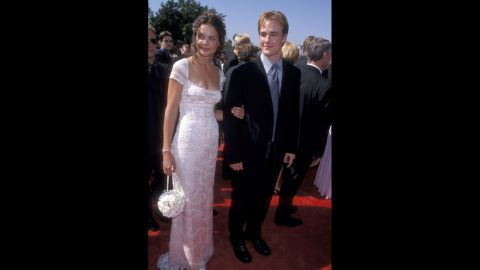 """""""Dawson's Creek"""" co-stars Katie Holmes and James Van Der Beek walked the red carpet of the 1998 Emmys together."""