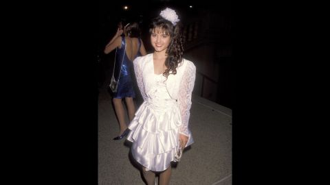 """""""Wonder Years"""" actress Danica McKellar stole hearts at the 1990 Emmys in a sweet layered dress."""