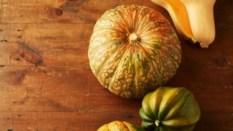 """<strong>Squash:</strong> Unlike summer squash, winter squash has a fine texture and a slightly sweet flavor. Because of its thick skin, it can be stored for months. It tastes best with other fall flavorings, like cinnamon and ginger. <br /><br />Health benefits include<br />• Contains omega-3 fatty acids <br />• Excellent source of vitamin A <br /><br />Harvest season: October to February<br /><br /><a href=""""http://www.health.com/health/gallery/0,,20454528,00.html"""" target=""""_blank"""" target=""""_blank"""">Health.com: 25 ways to cut 500 calories a day</a>"""