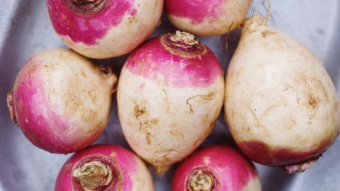 <strong>Rutabaga:</strong> A cross between a turnip and a cabbage, rutabagas are a popular Swedish dish. To utilize their earthy flavor, add them to casseroles, puree them with turnips and carrots to make a sweet soup or roast them with ginger, honey or lemon. <br />Health benefits include• Good source of fiber • Good source of vitamin C Harvest season: October to April