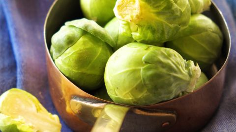 """<strong>Brussels sprouts</strong>: Made the correct way, these veggies taste divine. They have a mild, somewhat bitter taste, so combine them with tangy or savory sauces, like balsamic vinegar. <br /><br />Health benefits include<br /> • 1/2 cup contains more than your DRI of vitamin K<br /> • Very good source of folate<br /> • Good source of iron<br /><br />Harvest season: September to March<br /><br /><a href=""""http://www.health.com/health/gallery/0,,20306795,00.html"""" target=""""_blank"""" target=""""_blank"""">Health.com: Family-friendly meals</a>"""