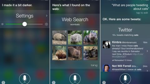 """The updated Siri can adjust iPhone settings, do Bing searches for """"wombats"""" and look through Twitter."""