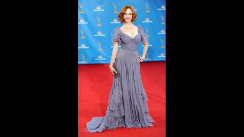 """""""Mad Men"""" actress Christina Hendricks may have chosen a pale color for the 2010 Emmys, but the way she looked in her dress was impossible to miss."""