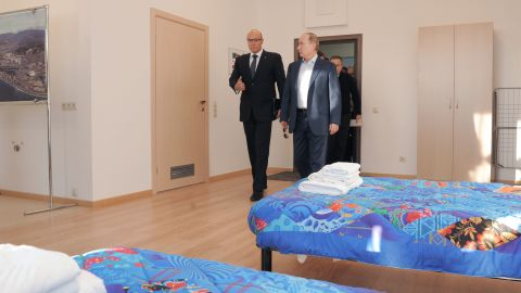 Russia's President Vladimir Putin has taken a keen interest in the Games, visiting Sochi to ensure the project is finished in time. He visited the Olympic Village with Dmitry Chernyshenko, the CEO of the organizing committee.