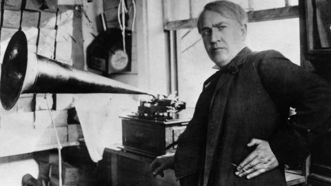 """In 1877 Thomas Edison invented the phonograph, the first device that could reproduce recorded sound. It worked by tracing a stylus over a rotating cylinder. Edison tested it by speaking the phrase, """"Mary had a little lamb,"""" into the machine -- perhaps the first words ever recorded."""