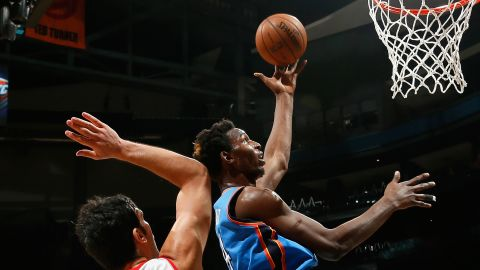 """Tanzanian Hasheem """"The Dream"""" Thabeet is a giant, measuring 7ft 3in. His last team was Oklahoma City Thunder before moving to play in the NBA's Development League."""