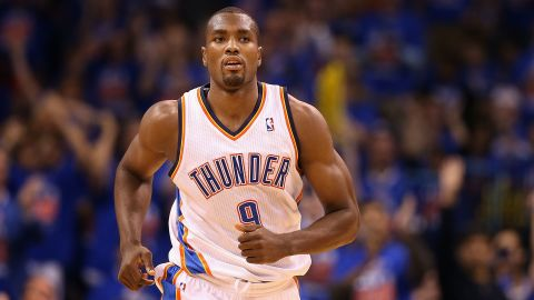 Born in the Republic of Congo, power forward Serge Ibaka played in the Spanish league before joining the Oklahoma City Thunder in 2009. Ibaka won an Olympic silver medal representing Spain in the 2012 Olympics.<br />