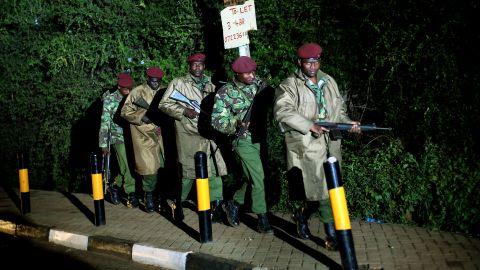Kenyan Defense Forces walk near the mall on Monday, September 23.