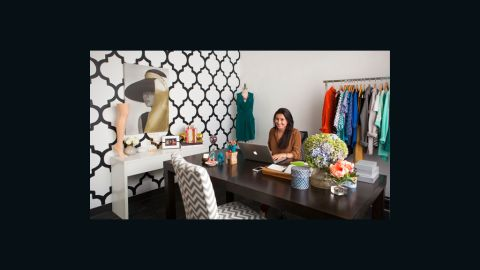 """Stitch Fix CEO Katrina Lake's office is called the """"classic"""" room. The company's styling team brought this room to life for less than $1,000."""