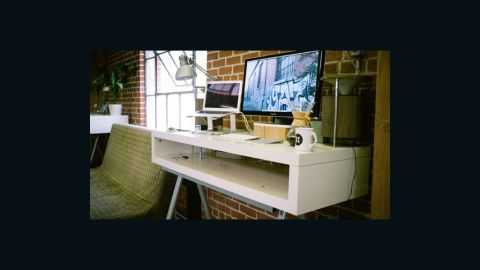 """Nik Bauman, CEO of coffee startup Tonx, has a <a href=""""http://www.brit.co/standing-desks"""" target=""""_blank"""" target=""""_blank"""">standing desk</a> in his office that keeps him on his feet."""