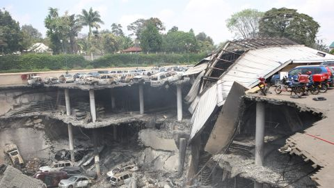 Images released by the Kenyan Presidential Press Service on Thursday, September 26, show scenes of destruction in the parking deck outside the Westgate mall after the four-day siege by militants.