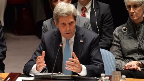 U.S. Secretary of State John Kerry said the world community was imposing a binding obligation on the government of Syrian President Bashar al-Assad to get rid of its chemical weapons stockpile.