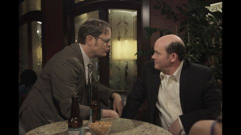 "Rainn Wilson, left, as Dwight Schrute and David Koechner as the crude, rude office jokester Todd Packer in ""The Office."""