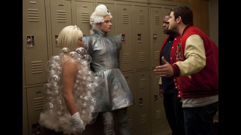 "On ""Glee,"" Tina and Kurt (Jenna Ushkowitz and Chris Colfer) get guff from high school toughs Karofsky and Azimio (Max Adler and James Earl III)."