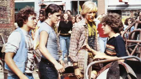 """Matt Dillon, second from left, is the head bully in charge of runt Chris Makepeace, right, who hires a very large classmate to take on his tormenter in the 1980 film """"My Bodyguard."""""""