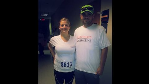 """In August, the couple completed their first 5K race. They reached their goal of completing the race in under an hour. """"One and a half years ago, if you told me that I should walk even a mile, I would've laughed in your face,"""" Lauren said. """"I got tired from just walking around the store and had to lie down the rest of the evening."""""""