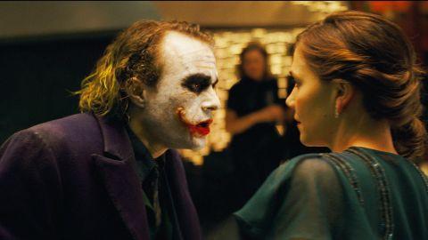 "Heath Ledger starred as the Joker and Maggie Gyllenhaal as Rachel Dawes in ""The Dark Knight."" The death of Rachel hit Bruce Wayne/Batman hard."
