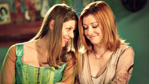 """Tara Maclay (Amber Benson) and Willow Rosenberg (Alyson Hannigan) were a happy couple on """"Buffy the Vampire Slayer"""" until a bullet felled Tara, which led to much outrage from fans. (<a href=""""http://www.cnn.com/2013/09/06/showbiz/fan-backlash-dancing-fifty-batman/index.html?iref=allsearch"""">But what else is new?</a>)"""