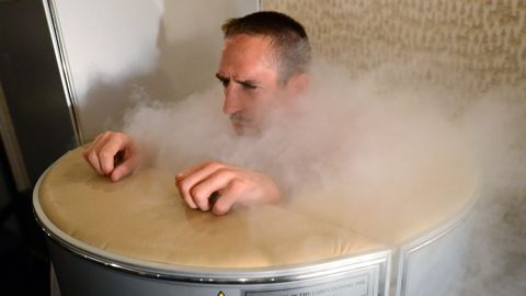 Extremely low temperatures are also used in cryotherapy -- a medical treatment that has gained currency with a number of international sports teams. Here, French soccer player Franck Ribery is immersed in a cryotherapy tank, subjecting the body to temperatures as low as minus 256 degrees Fahrenheit (minus 160 Celsius). Cryotherapy aims to decrease pain and inflammation and aid healing.