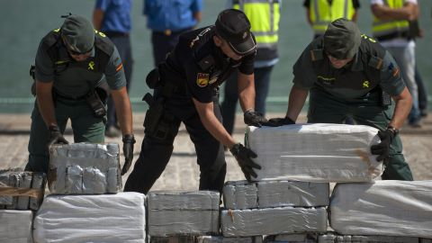 Packages of cocaine seized by police in Spain last month