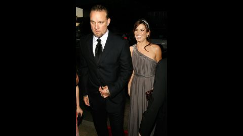 """In 2007, Bullock steps out with her then-husband, Jesse James, at the premiere of """"Premonition"""" in Hollywood."""