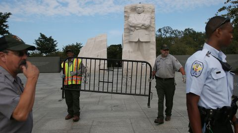 Park police and Park Service employees close down the Martin Luther King Jr. Memorial on the National Mall on October 1.