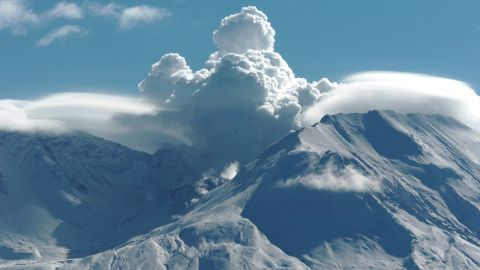 Mount St. Helens is a volcano in the state of Washington, seen here in 2004. It erupted in 1980, spewing out more than 1 cubic kilometer of material.