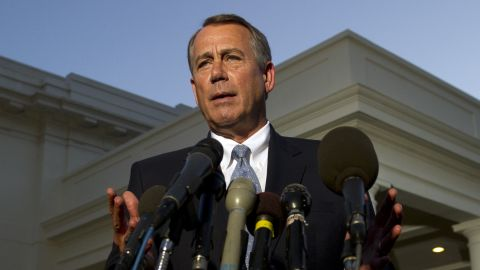US Speaker of the House John Boehner speaks to the media following a meeting with US President Barack Obama at the White House in Washington, DC, October 2, 2013, on the second day of the government shutdown. Boehner left talks with Obama Wednesday complaining that Democrats will not negotiate to end a government shutdown. The White House is squaring off with Republican rivals in Congress over how to fund federal agencies, many of which are now closed, leaving some 800,000 furloughed workers in the lurch and a fragile economy at risk. AFP Photo/Jewel Samad (Photo credit should read JEWEL SAMAD/AFP/Getty Images)